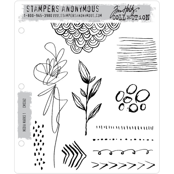 Media Marks 1 ... Doodles and Scribbles with Style! - set of 11 rubber stamps by Tim Holtz.