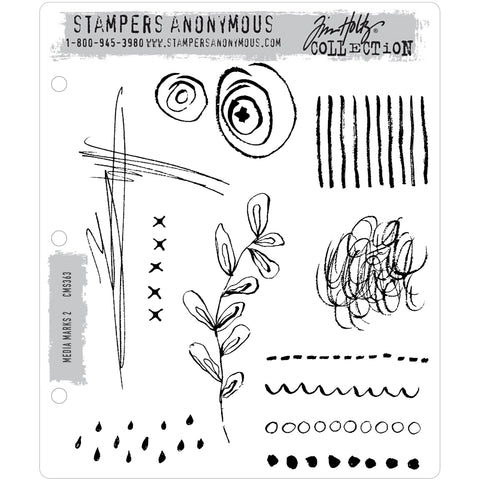 Media Marks 2 ... Doodles and Scribbles with Style! - set of 11 rubber stamps by Tim Holtz.