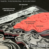 close up photo of Tim Holtz cling rubber stamps - example plus notations