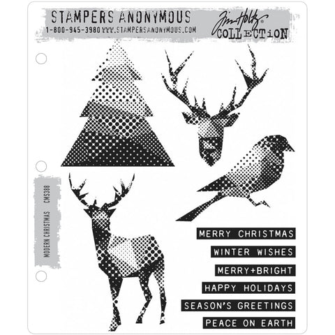 Modern Christmas ... 10 rubber stamps of reindeer, words, bird and Christmas tree - by Tim Holtz (CMS388)