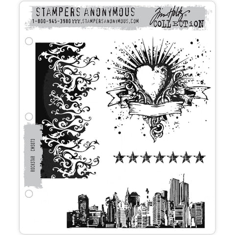 Rockstar cling rubber stamps by Tim Holtz and Stampers Anonymous