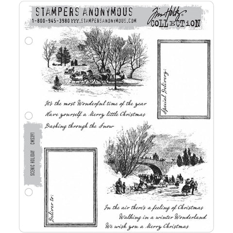 Scenic Holiday ... 10 rubber stamps by Tim Holtz (CMS391)