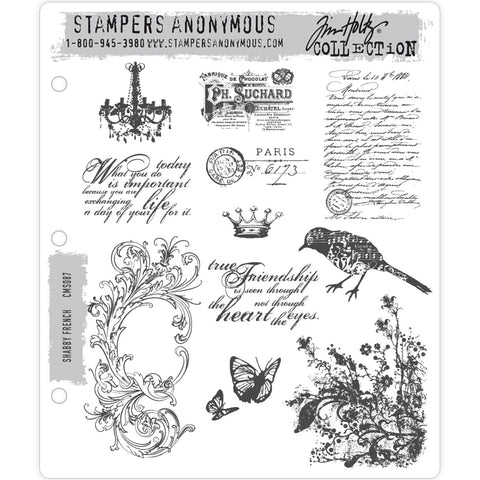 Tim Holtz cling rubber art stamps called Shabby French CMS087