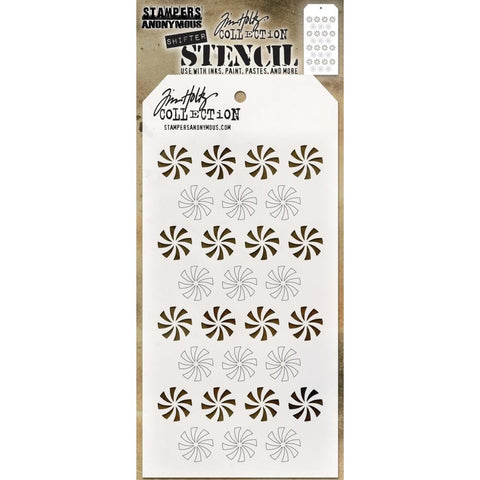 Shifter Stencil - Peppermint Pinwheels ... layering stencil by Tim Holtz (THS137)