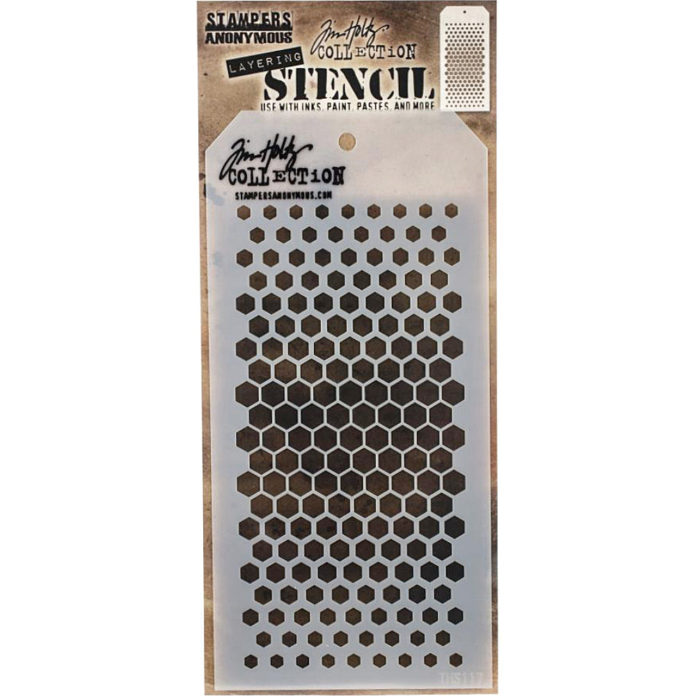 Gradient Hex Design Stencil Stampers Anonymous Tim Holtz Collection THS117 New