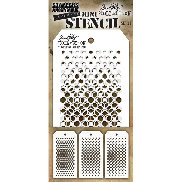 Tim Holtz Layering Mini Stencil - Set 39 - Gradient Hex Dot Square