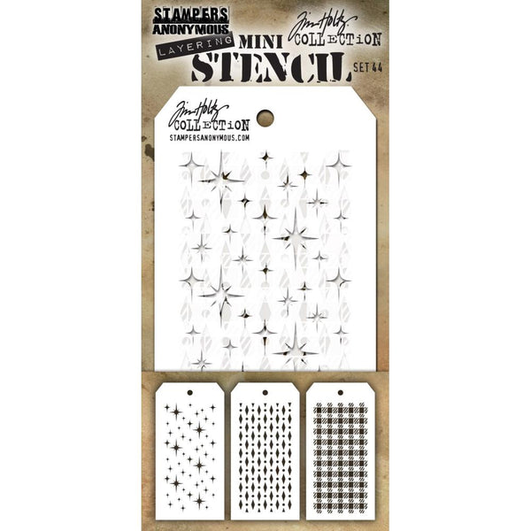 Tim Holtz Layering Mini Stencil - Set 44 - Sparkle Diamond-Dot Gingham