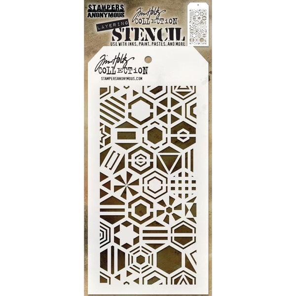 tim Holtz Layering Art Stencil - Patchwork Hex Hexagon patterns