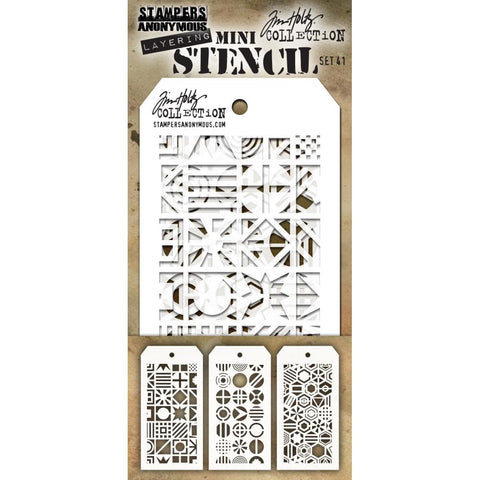 Tim Holtz Layering Mini Stencil - Set 41 - Patchwork Circle Cube Hex