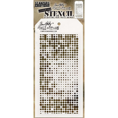 Halftone design - Tim Holtz Layering Art Stencil for Mixed Media