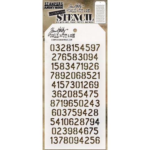 Digits Numbers Numerals - Tim Holtz Layering Art Stencil for Mixed Media