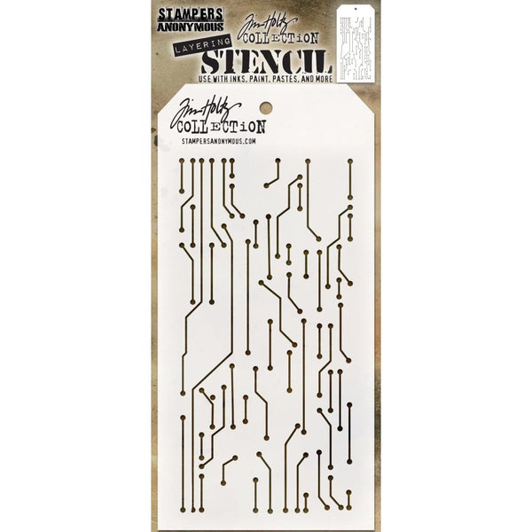 Circuit design - Tim Holtz Layering Art Stencil for Mixed Media