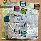 Example only - photo from Art by Jenny showing the Tim Holtz Distress Enamel Pin Brooch in use on my cork board