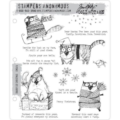 Tim Holtz Cling Stamps - Snarky Cat Christmas - NEW!