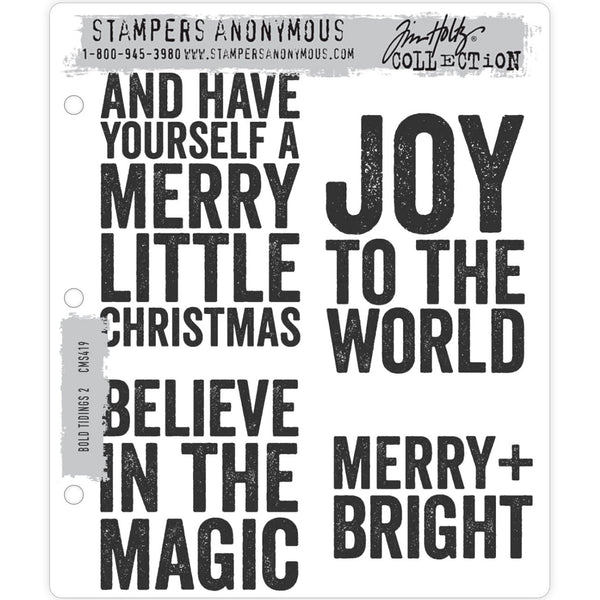 Tim Holtz Christmas Stamps 2020, Bold Tidings