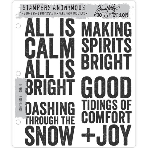 Bold Tidings CMS421 Tim Holtz Cling Stamps