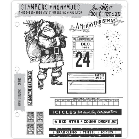 Tim Holtz Cling Stamps - Vintage Holidays - NEW!
