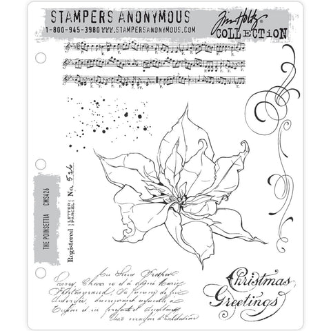 Tim Holtz Cling Stamps - The Poinsettia - NEW!