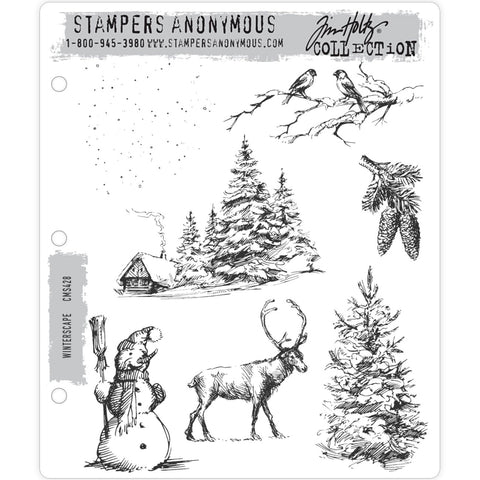 Tim Holtz Cling Stamps - Winterscape - NEW!