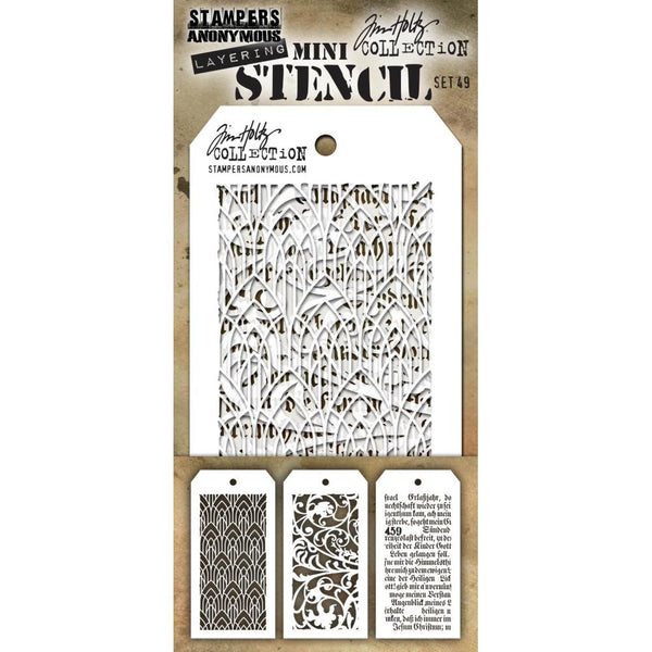 Mini Set 49 - Ironwork, Script, Deco Arch ... 3 (three) layering stencils by Tim Holtz (MTS049)