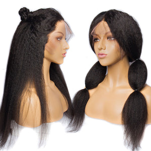 150% Brazilian Kinky Straight Wigs W Baby Hair Remy 13x4 Pre Plucked Yaki Lace Front Human Hair Wig For Black Women
