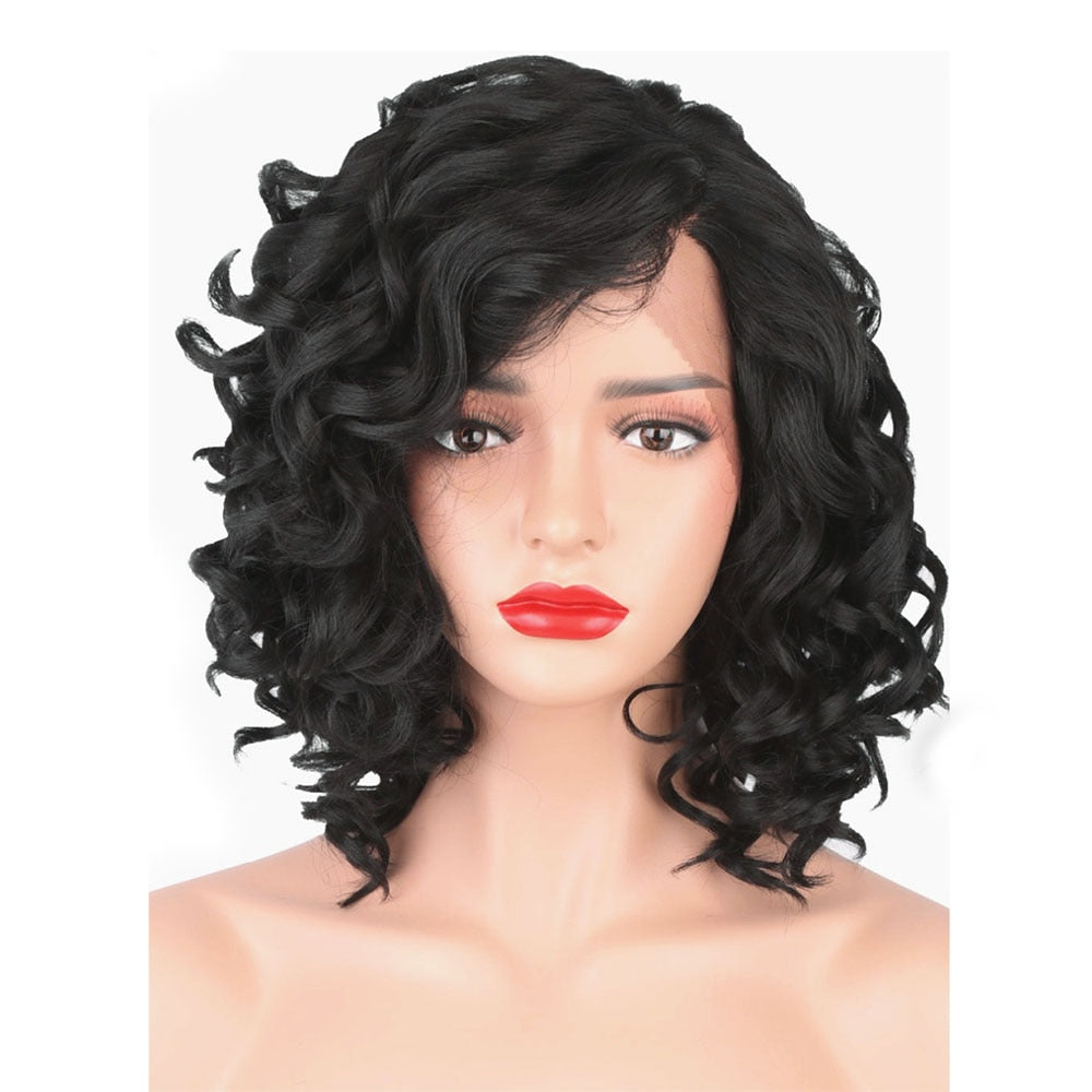 Women's Synthetic Lace Front Wigs Black Curly Hair Medium Lace Wig Natural