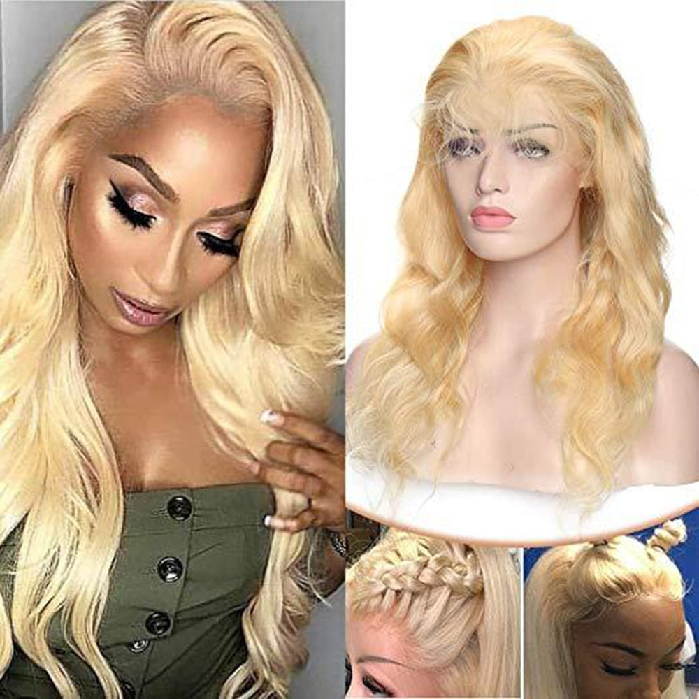 13x4 613 Honey Blonde Lace Front Human Hair Wigs Pre plucked Brazilian Body Wave Lace Frontal Wig Glueless Lace Remy Wig Rcmei