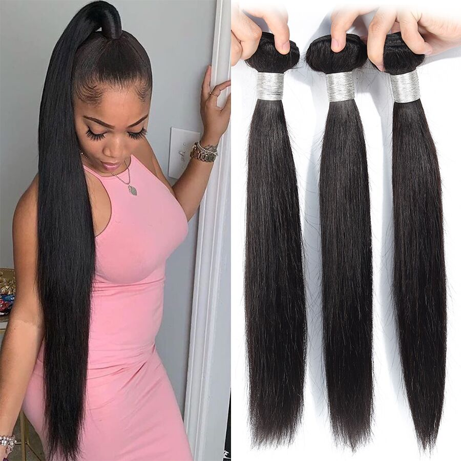 Straight Hair Bundles Human Hair Bundles Brazilian Hair Weave Bundles Human Hair Weave Extensions 8 To 30 Inch Non Remy Bundles