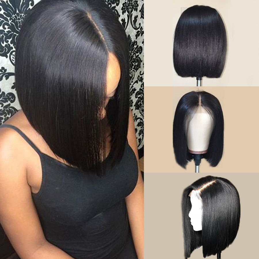 Bob Lace Front Wigs RXY 13x6 Bob Wig Short Lace Front Human Hair Wigs For Women Peruvian Straight Lace Front Wig Remy Black Hair