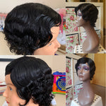 Short Lace Human Hair Wigs For Black Women Finger Wave Brazilian Ocean Wave Remy L Shape Lace Wig 4 Inches Ms Love