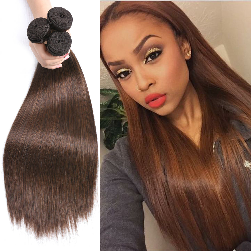 #4 Brown Straight Brazilian Hair Weave Bundles 3 piece Remy Human Hair Extensions 95G Free Shipping