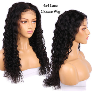 4x4 Lace Closure Human Hair Wig 150% Density African Market Peruvian Water Wave Alibele Remy Human Hair Wig DIY Lace Closure Wig