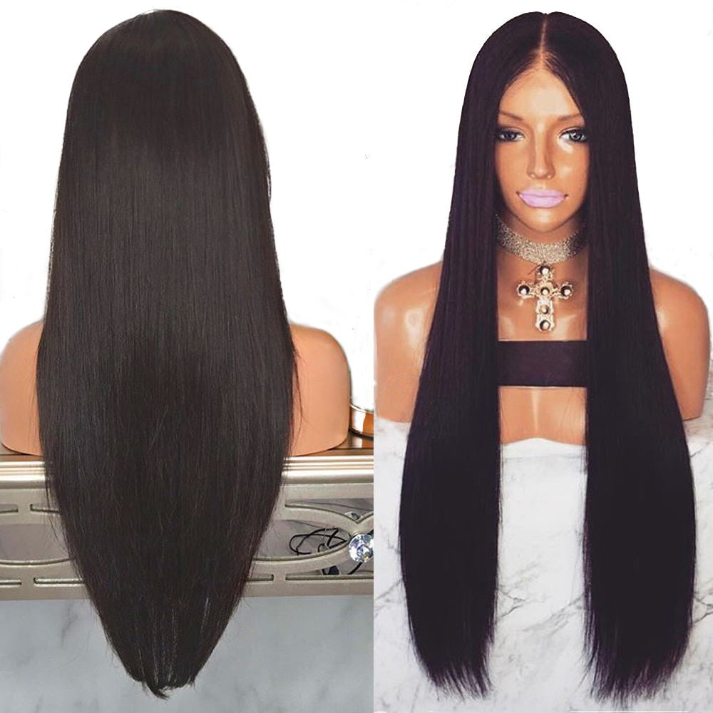 "Glueless Natural Straight Lace Front Wigs with Baby Hair 18"" to 28"" Long Hair Wig Synthetic Heat Resistant Fiber"
