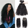Malaysian Deep Wave Curly Bundles With Closure Remy Human Hair Extension Malaysian Human Hair 3 Bundle With Lace Closure