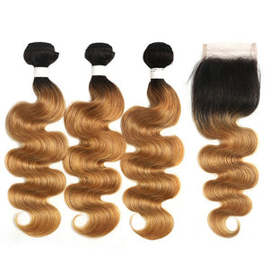 Brazilian Body Wave Bundles With Closure 1B 27 30 Ombre Blonde Brown Human Hair Weave Bundles With Closure Non-Remy Hair SOKU