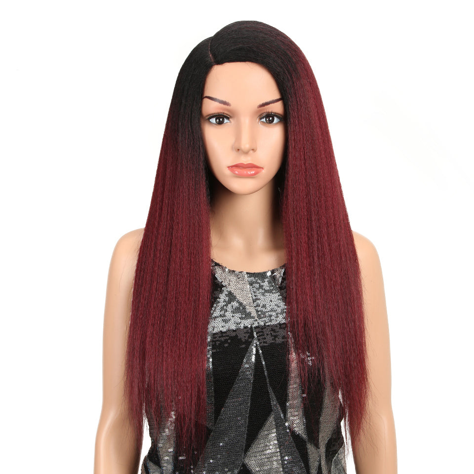 Synthetic Wigs For Black Women 28 Inch 70CM Heat Resistant Fiber Hair Long Ombre Brown Yaki Straight Lace Front Wig