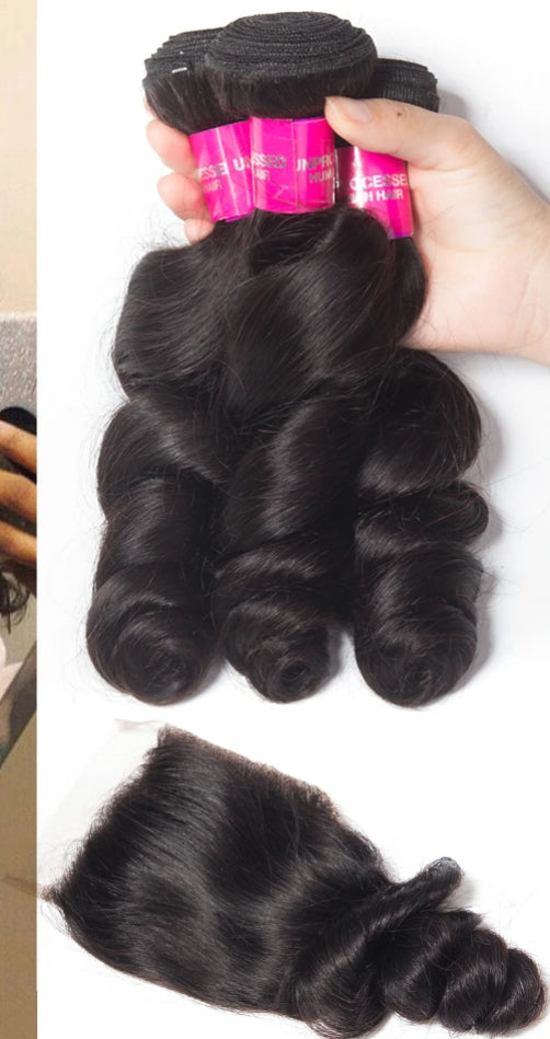 Hair Brazilian Hair Weave Bundles With Closure Remy Human Hair 3 Bundles With Closure Loose Wave Bundles With Closure