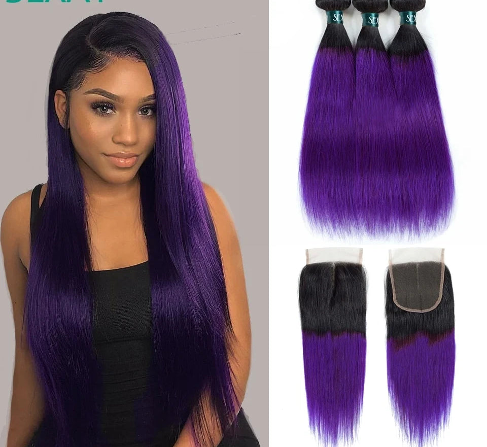 Purple Ombre Human Hair Bundles With Closure Pre Colored Brazilian Hair Weave Bundles Straight Hair Bundles With Closure