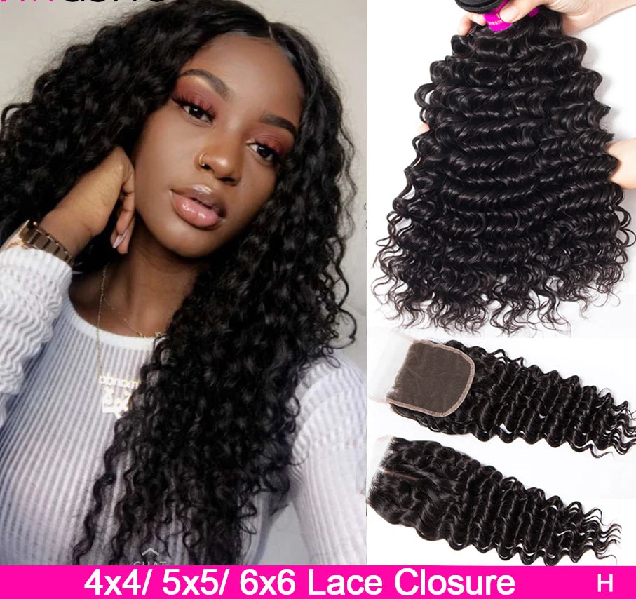 Deep Wave Bundles With Closure 5x5 6x6 Lace Closure And Bundles Remy Brazilian Human Hair Weave 3 Bundles With Closure