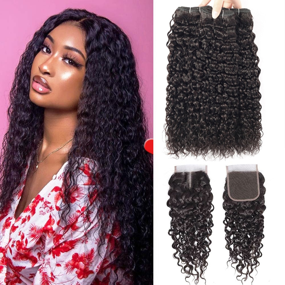 Water Wave Bundles With Closure Brazilian Hair Weave Bundles With Closure Remy Curly Human Hair 3 Bundles With Closure