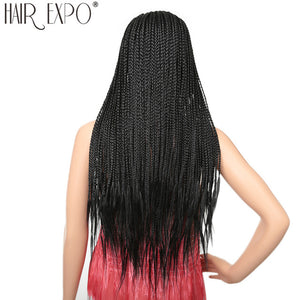 Box Braids Synthetic Lace Front Wig Heat Resistant Fiber Hair Black Glueless Lace Wigs For Women With Baby Hair