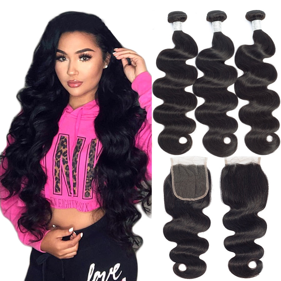 Brazilian Body Wave Bundles With Closure 4X4 Lace Closure With Baby Hair Human Hair Weaves With Closure Non-Remy Hair Extension