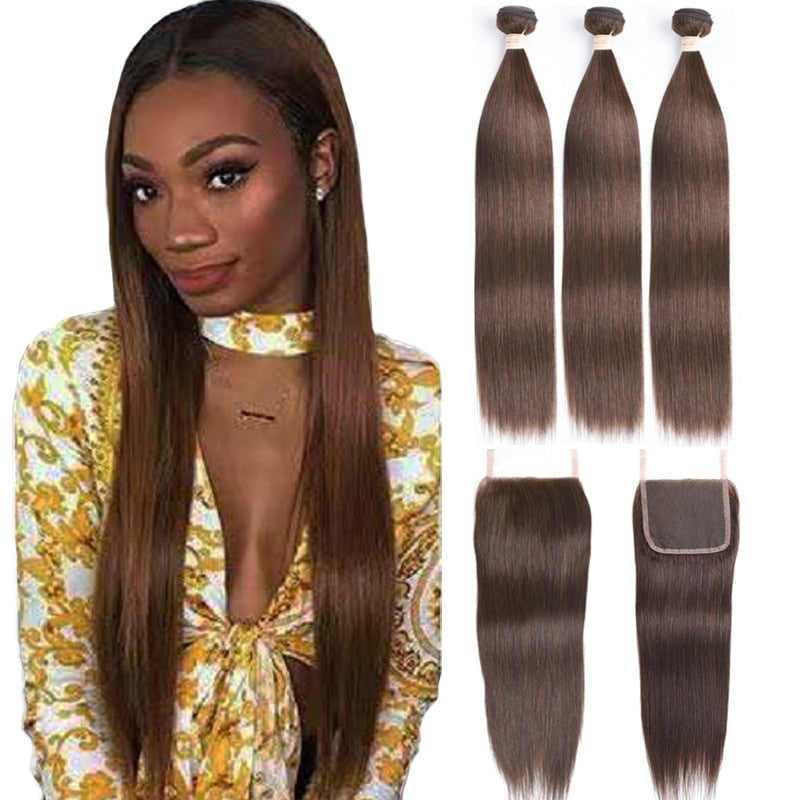 Brown Bundles with Closure Human Hair Bundles With Closure Dark Brown Bundles With Closure Non Remy Brown Brazilian Bundles