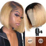 "Ombre Short Human Hair Lace Wigs 13*4 Straight Bob Color Wigs 8-14"" Lace Front Human Hair Wigs Pre Plucked Remy Hair"