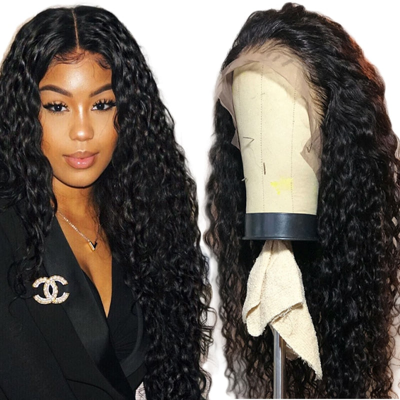 brazilian water wave lace front wig with baby hair 150% pre plucked 13x4 lace front human hair wigs for black women