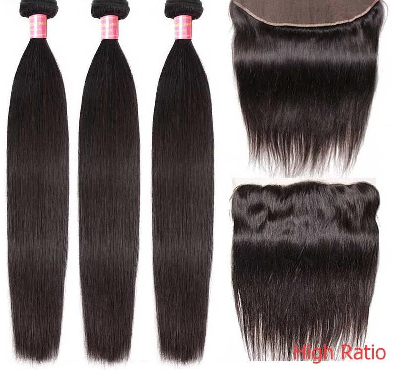 Hair Peruvian Straight Hair High Ratio Remy Human Hair Weaving 3/4 Bundles With Lace Frontal 13x4/6 inch Free Shipping
