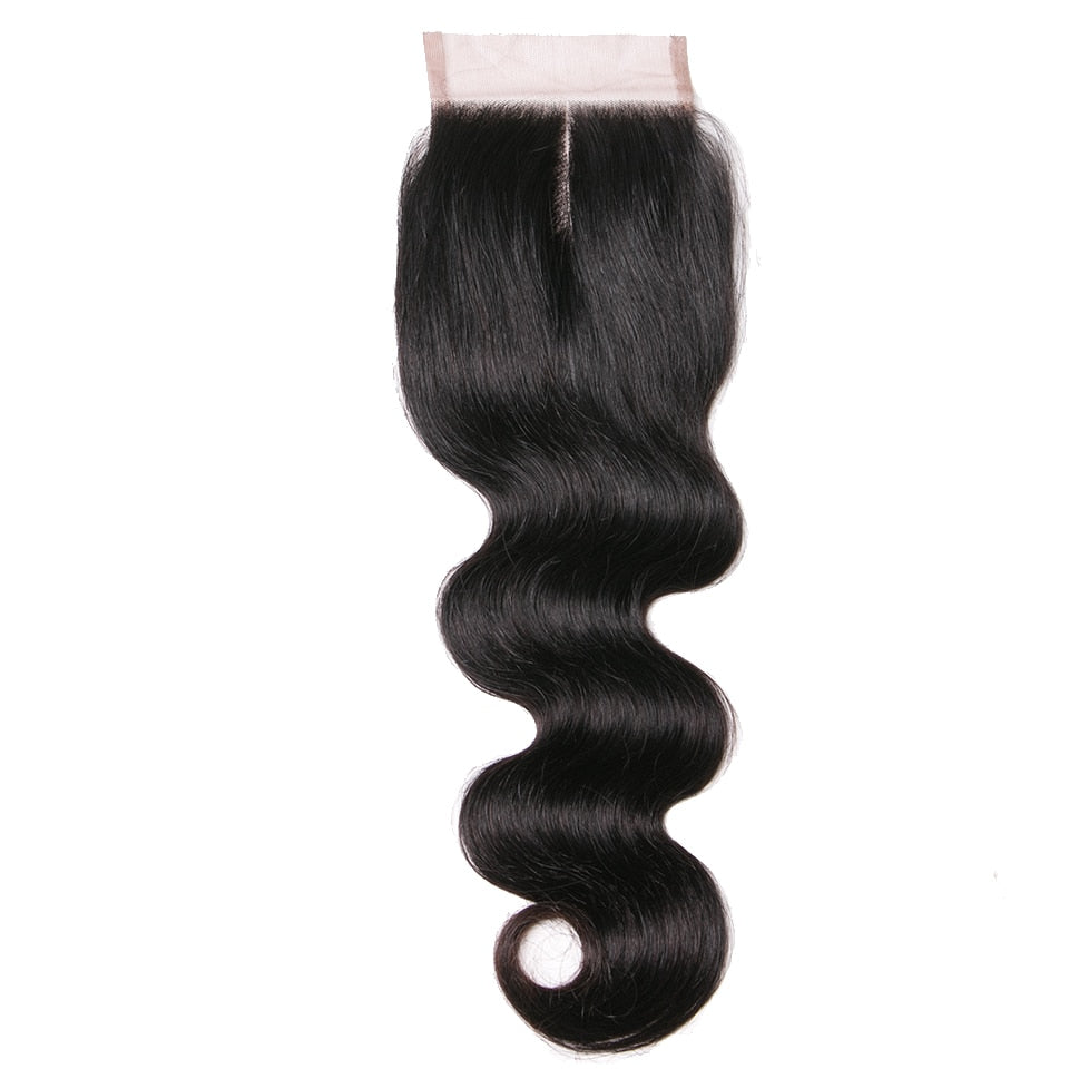 Human Hair Products Middle Part Closure 130% Density Swiss Lace Remy Hair Natural Color Body Wave Lace Closure