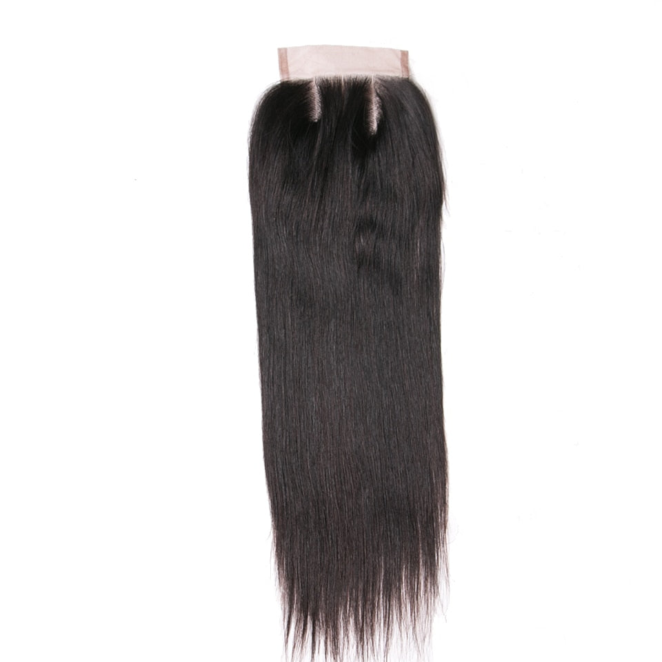 Human Hair Products Three Part Closure 130% Density Swiss Lace Remy Hair Natural Color Straight Lace Closure