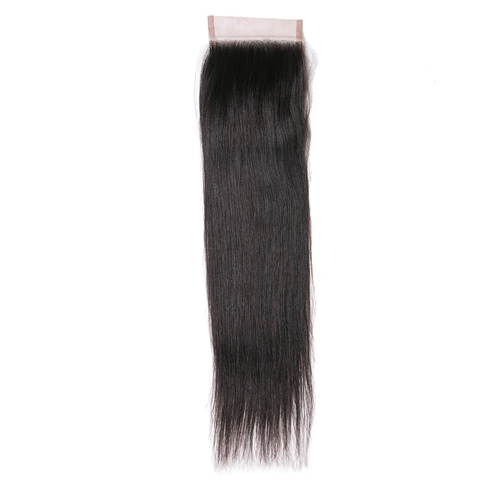 Human Hair Free Part Closure 130% Density Swiss Lace Remy Hair Natural Color Straight Lace Closure