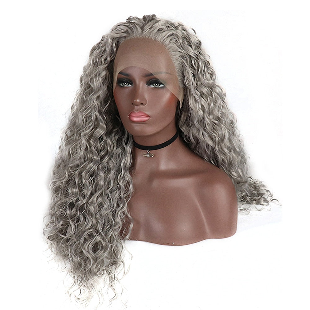 Synthetic Lace Front Wigs For Black Women Silver Grey Hair Heat Resistant Fiber Long Bohemian Curly Frontal Lace Wig